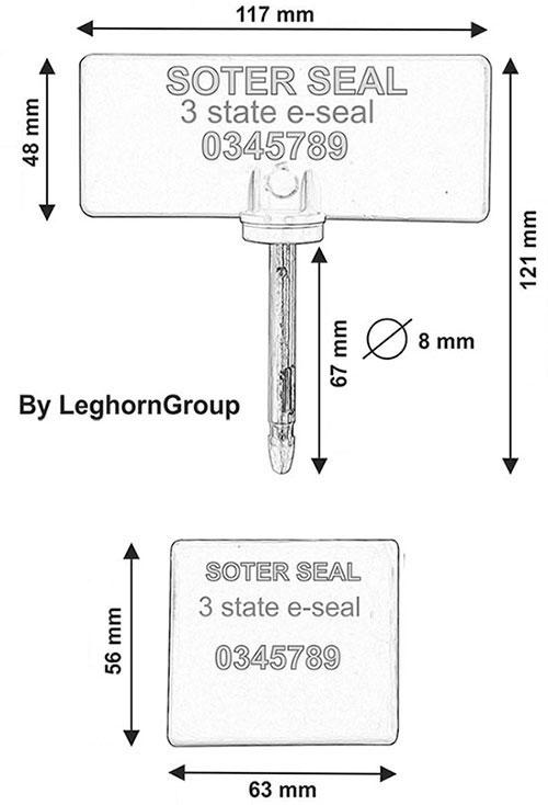 kontejnerova plomba three states soter seal technicky nakres