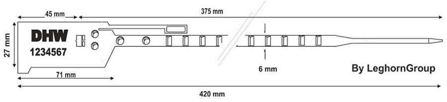 plastova plomba bag seal 6×420 mm technicky vykres