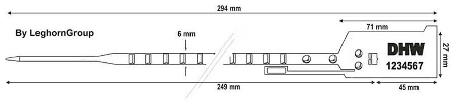 plastova plomba easytight 6×294 mm technicky vykres