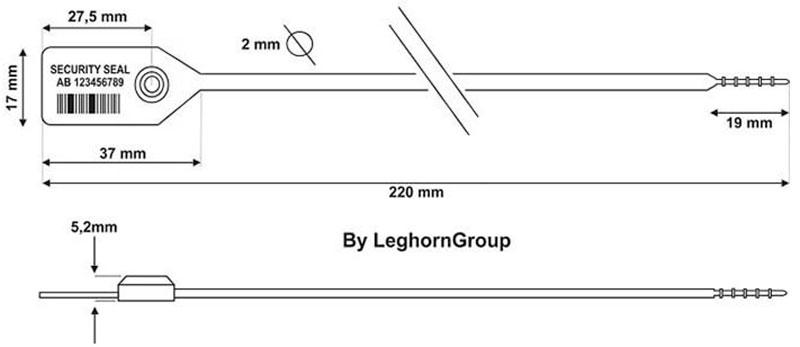 plastova plomba icarus 2×220 mm technicky nakres