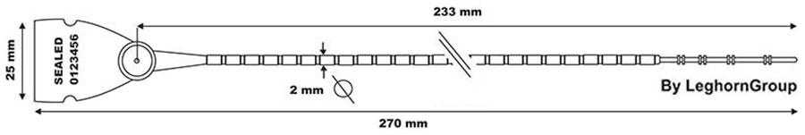 plastova plomba scite seal lgh 103-2×270 mm technicky nakres