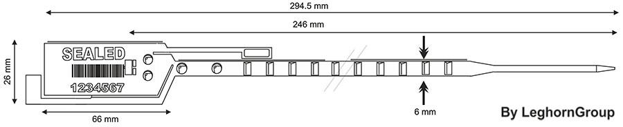 plastova plomba simple seal 6×294 mm technicky vykres