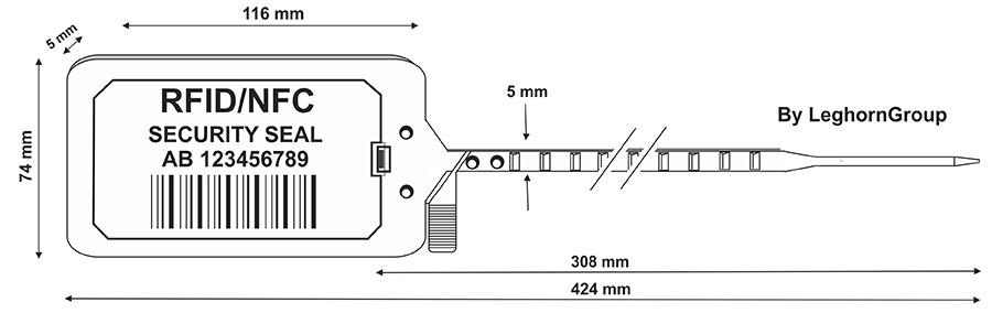 plastova plomba titan seal rfid 5×424 mm technicky vykres