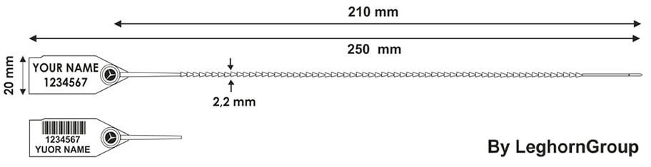 plastova plomba twiggy seal 2,2×250 mm technicky vykres