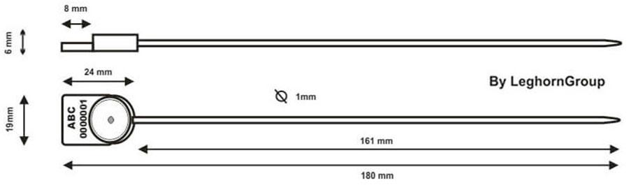 polypropylenova plomba alcyone seal 1×161 mm technicky nakres