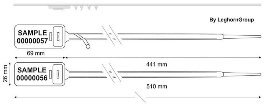 zatahovaci plomba hector seal lt 7.5x510 mm technicky nakres