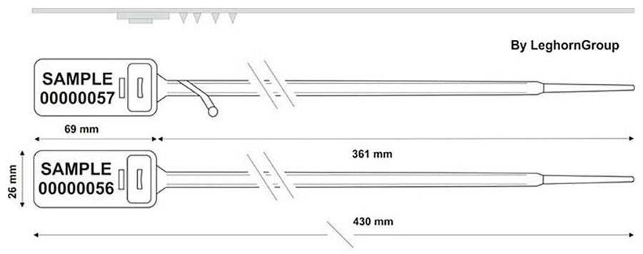 zatahovaci plomba hector seal ww 7.5x430 mm technicky nakres