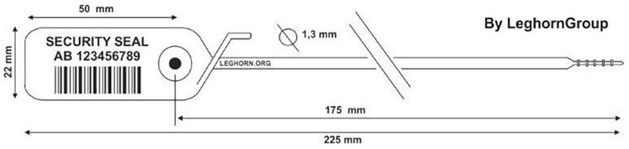 zatahovaci plomba jupiter 1.3×225 mm technicky vykres