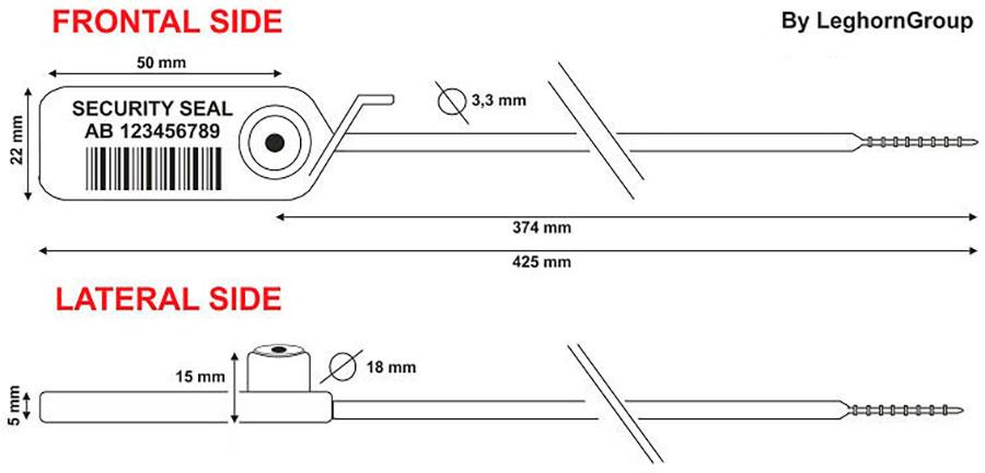 zatahovaci plomba jupiter 3.3×425 mm technicky vykres