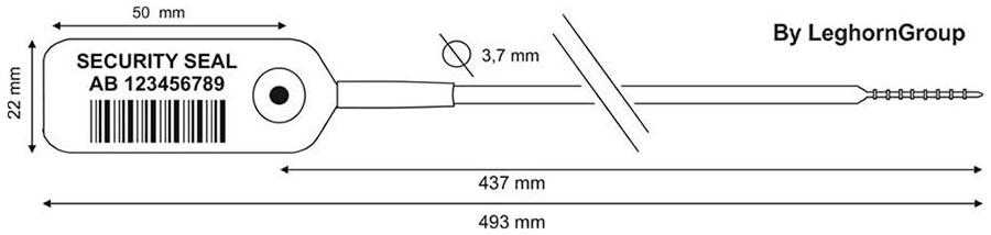 zatahovaci plomba jupiter 3.7×493 mm technicky vykres