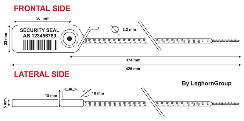 zatahovaci plomba adjust seal uhf hf nfc rfid technicky vykres